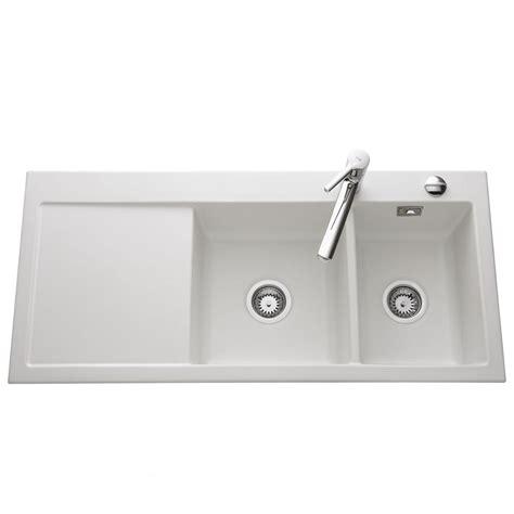 plaque en inox cuisine évier céramique blanc mat 2 bacs egouttoir à gauche