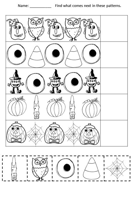 halloween cut paste number recognition writing