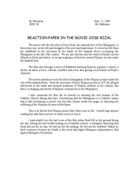 reaction paper    jose rizal