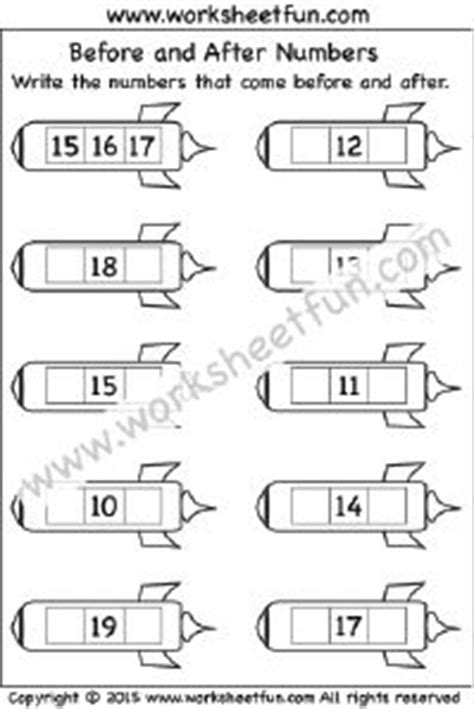 before and after numbers 1 20 one worksheet math free printable math worksheets free