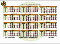 Calendario semanal para planificar el servicio del 2018