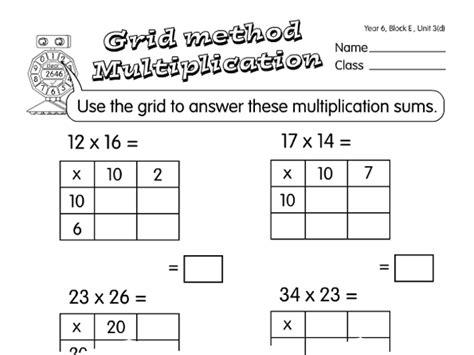 multiplication worksheets using grid method grid multiplication a year 6 multiplication worksheet