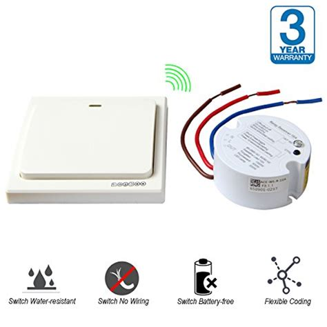 wireless light switch transmitter and receiver acegoo wireless lights switch kit self powered battery