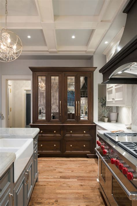 repose gray cabinets hutch with mirrored doors transitional kitchen 226