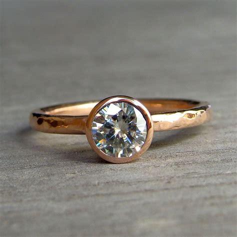 custom engagement ring moissanite and recycled 14k rose