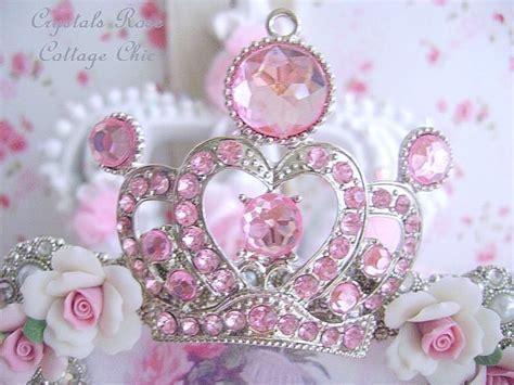 shabby pink rose crown frame
