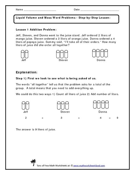 liquid volume and mass word problem worksheet for 1st
