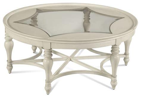 round coastal coffee table sanibel coastal white wood glass round cocktail table