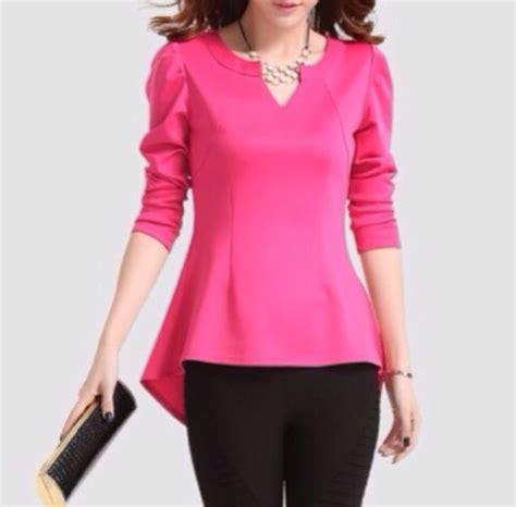 pink blouse peplum blouse pink black blouse