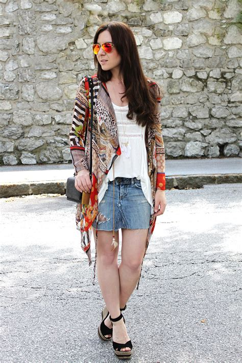 outfit jeansrock von levis kimono von oasap