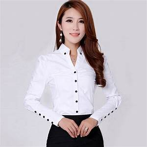 2016 Spring New Women's Formal Shirts Long Sleeve Cotton ...