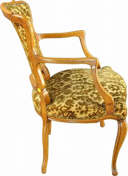 Accent French Country Chair Upholstered Arm Gold