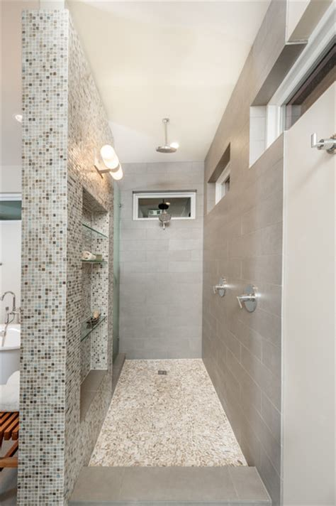 open walk  shower transitional bathroom dallas