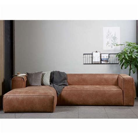 leder cognac eckgarnitur bean leder cognac polster sofa ecksofa longchair links sofas