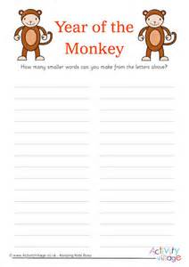 words year   monkey
