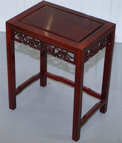 Chinese coffee table lacquered wood golden dragon phoenix. Chinese Vintage Rosewood Dragon Carved Nest of Four Tables ...