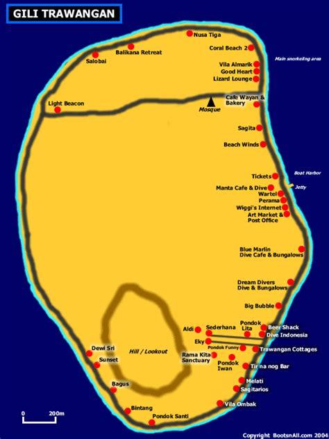 map  gili trawangan bali blog