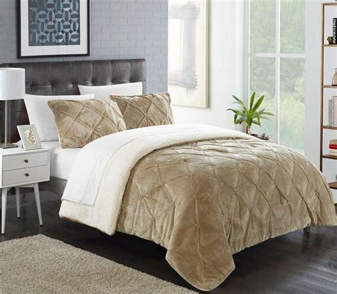 Sherpa Lined Comforter - luxury 3 pinch pleated ruffled pin tucked sherpa