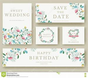 set of flower invitation cards colorful greeting wedding With wedding invitation salutation etiquette