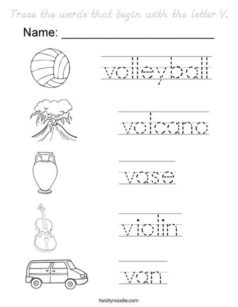 words that start with the letter d trace the words that begin with the letter v coloring page