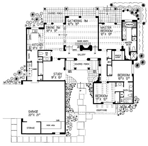 small courtyard house plans images grid home
