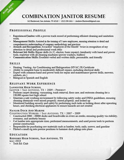 resume for school custodian position entry level janitor resume sle resume genius