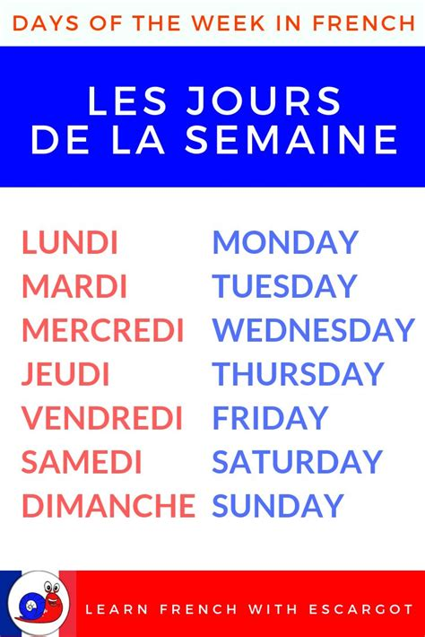 Bonjour, Learn the days of the week in French and extra ...