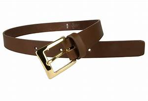 Mens Brown Leather Belt With Gold Buckle