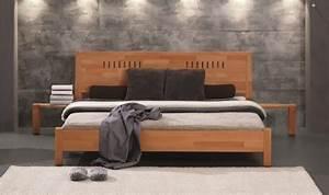 Lit Bois Massif Ikea : lit 2 places linea mobilier en bois massif pour chambre coucher contemporaine ~ Teatrodelosmanantiales.com Idées de Décoration