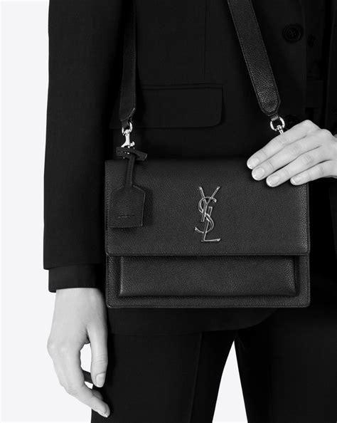 saint laurent medium sunset fes bag  black grained leather yslcom