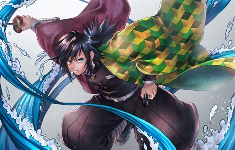 wallpaper sword anime blue eyes katana boy kimetsu