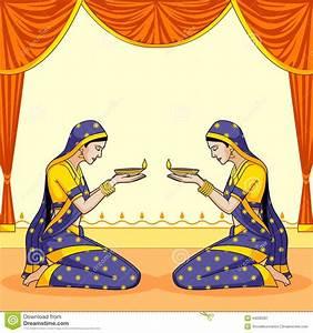 Indian Lady With Diwali Diya Stock Vector - Image: 44030287