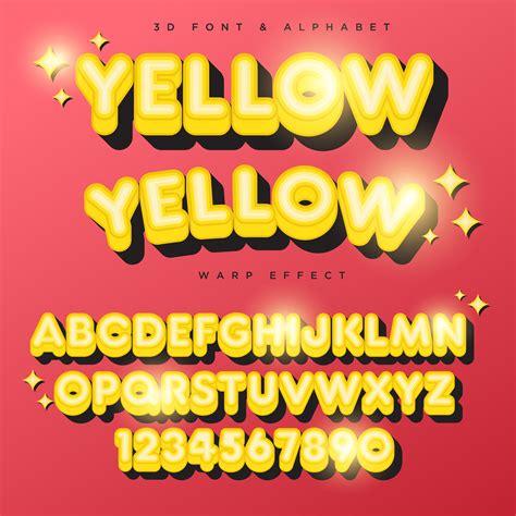 3D Yellow Stylized Lettering Text, Font & Alphabet 329010 ...