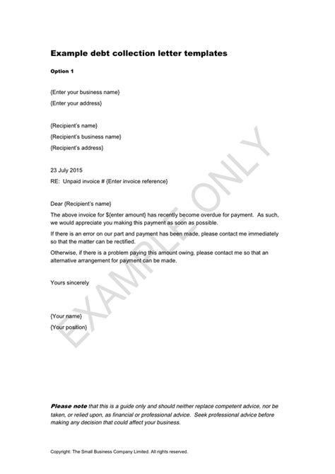 debt collection letter templates  word