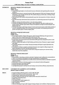 Regional Specialist Resume Samples