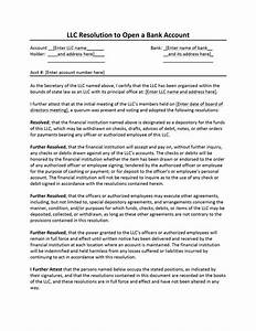 resolution letter open bank account sample format of With llc resolution template