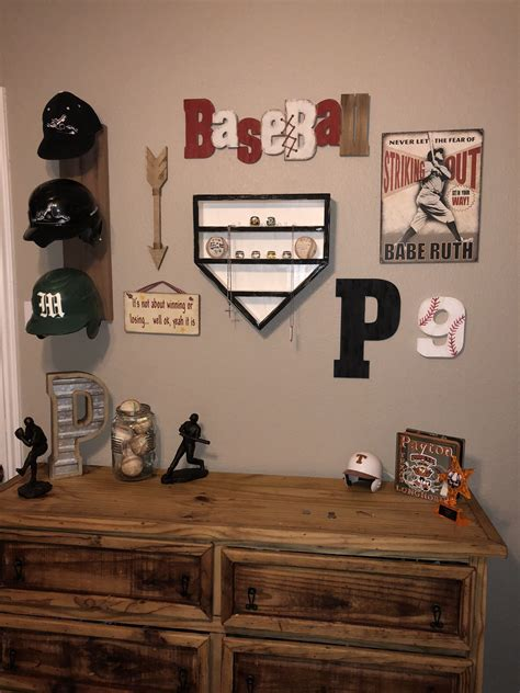 baseball wall decor homemade helmet rack homemade home plate ring  ball display  decor