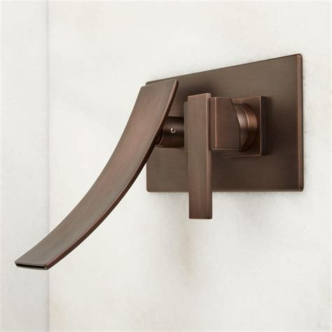 brushed bronze kitchen faucet reston wall mount waterfall bathroom faucet bathroom