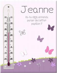 Thermomètre fixé sur bois personnalisé avec fleurs et