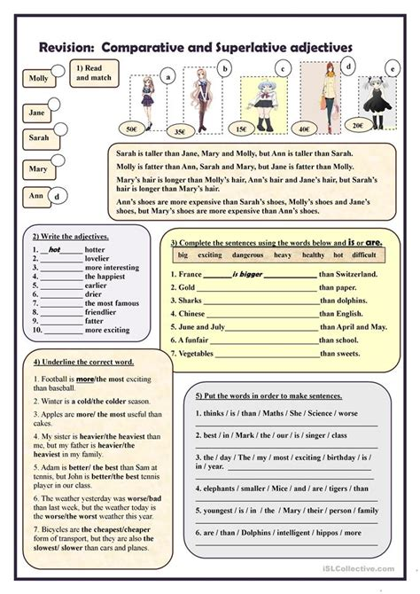 all worksheets 187 comparative and superlative adjectives