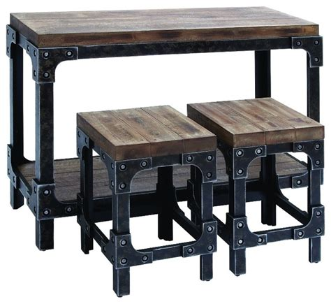 distressed wood and metal 3 console table