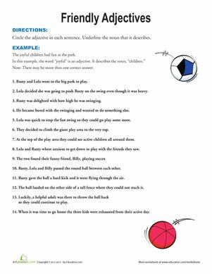 friendly adjectives worksheet education
