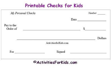 printable blank checks check register  kids cheques