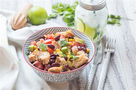 cuisine addict com black bean corn panzanella salad cuisine addict