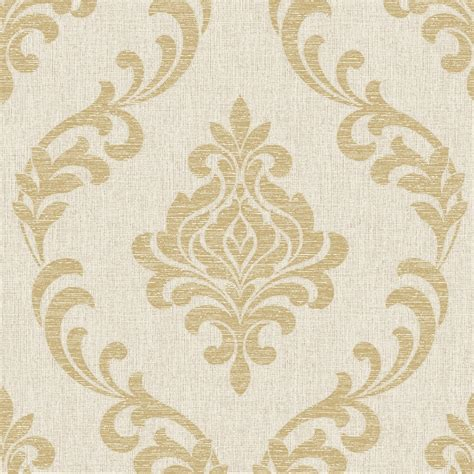 fine decor torino damask wallpaper beige gold fd