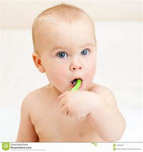 Toddler brushing teeth stock photo. Image of mouth, child ...