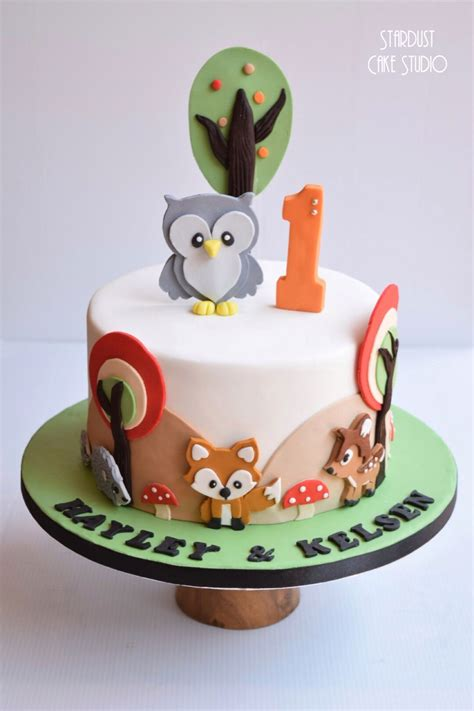 woodland animals cake mason st bday   toddler