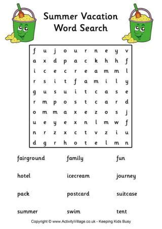 summer holiday word search easy