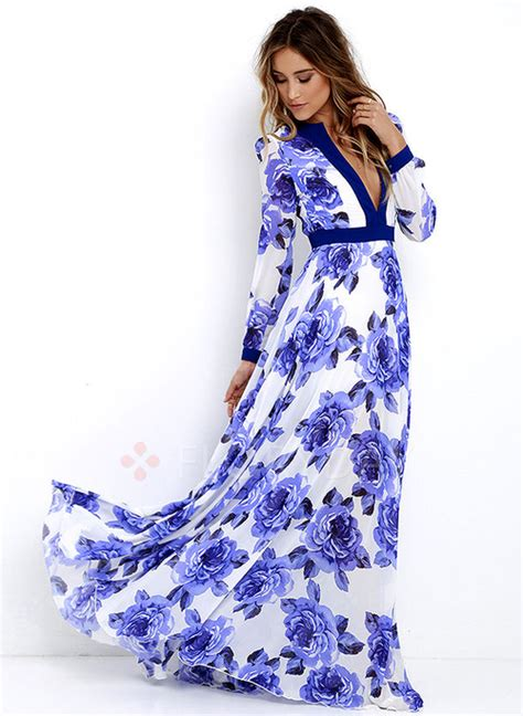 Floryday - Polyester Floral Long Sleeve Maxi Casual Dresses (1955124987)