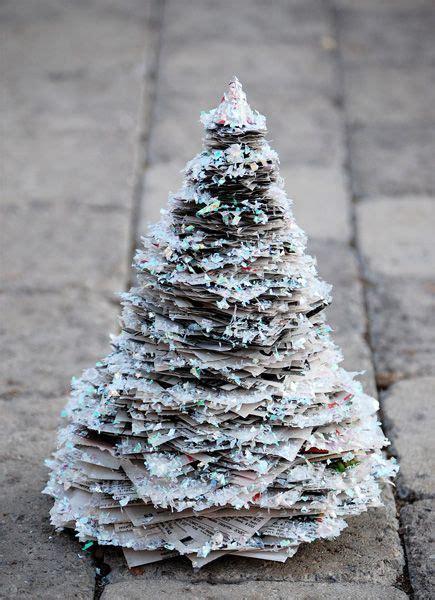 glitter newspaper mini christmas tree